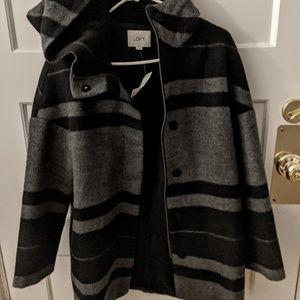 Loft Striped Cocoon Coat NWT